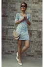 Sky-blue-fitted-floral-dress-light-pink-sling-purse-bag