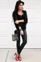 Wet Seal leggings - animal print purse - sheer cotton on blouse