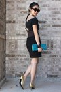 Aquamarine-purse-brown-skirt-black-top