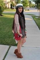 black sequined floral dress - red purse - camel peeptoe Qupid wedges