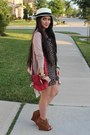 Black-sequined-floral-dress-red-purse-camel-peeptoe-qupid-wedges