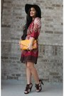 Brick-red-rue-21-dress-dark-brown-felt-icing-hat-dark-brown-fringe-heels