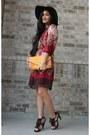 Brick-red-rue-21-dress-dark-brown-felt-icing-hat-dark-brown-fringe-heels