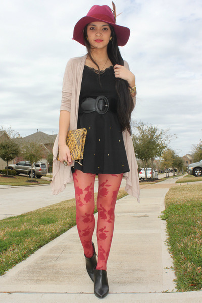 black ankle booties Maripe boots - crimson felt Icing hat