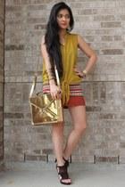 gold sling mailman bag - burnt orange tribal pencil 579 skirt