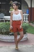 burnt orange high waist Tomato shorts - mustard chain purse purse