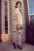 printed Wet Seal pants - black faux snake skin Charlotte Russe shoes
