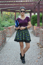 chartreuse Forever 21 skirt - blue patent vera wang purse - magenta bodysuit