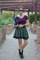 chartreuse Forever 21 skirt - blue patent vera wang purse - magenta bodysuit