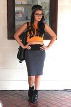 mustard crop top top - gray pencil skirt Forever 21 skirt