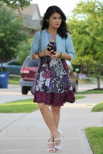 59094e74589 Denim hits white shoes purple no boundaries dress light blue denim shrug  jacket jpg 400x600 Blue