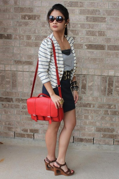 brown wedges - navy dress - eggshell striped cropped blazer