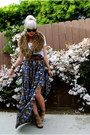 White-f21-shirt-light-brown-h-m-scarf-blue-f21-skirt