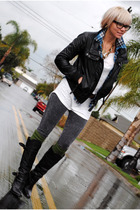 black Zara jacket - green Target socks - white H&M shirt - black Aldo boots - bl