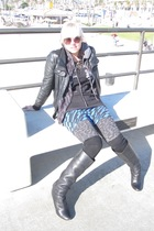 black Zara jacket - black Aldo boots - blue Forever 21 skirt