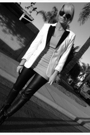 black Glaze boots - white H&M blazer - silver tresics shirt - black H&M pants
