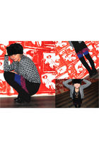 black f21 cardigan - blue H&M tights - pink f21 skirt - black aa leggings - blac