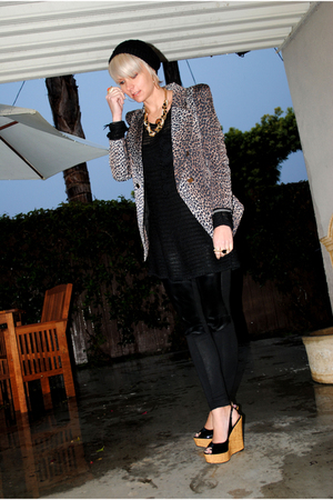 black H&amp;M leggings - black thrifted dress - brown shopnastygal blazer - black Ba