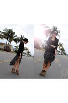 black Better B skirt - bronze Steve Madden boots - black H&M cardigan