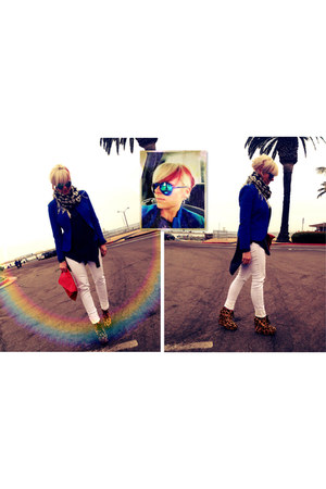 blue f21 blazer - white f21 jeans - red thrifted purse - blue Target sunglasses