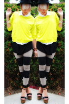black H&M hat - yellow f21 sweater - black H&M leggings - white Rubbish top - bl
