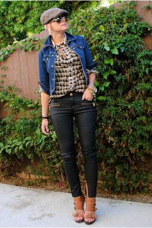 brown Carlos Santana heels - blue Vintage Levis jacket
