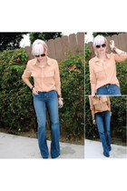 black Santee Alley shoes - navy JBrand jeans - peach cotton on blouse