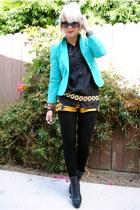 black Topshop boots - aquamarine thrifted blazer - mustard via wasteland H&M sho