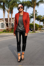 black H&M pants - burnt orange f21 blazer - heather gray Lush sweatshirt