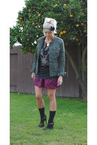 black vintage shirt - green Forever 21 blazer - pink Forever 21 skirt