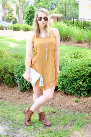python Taxidermy bag - vintage boots - sundress Marshalls dress