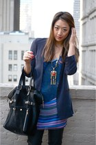 carrot orange Dannijo necklace - navy rachel roy blazer