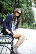 Zara boots - rachel roy blazer - vintage scarf - Chanel purse - madewell shorts