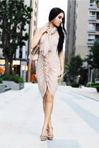 light pink H&M dress - eggshell Club Monaco scarf