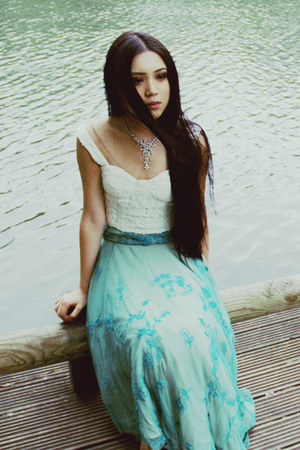 turquoise blue embroidered asos skirt - white crochet asos top