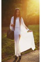 black polyurethane warehouse bag - white sheer asos dress