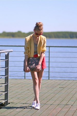 yellow SH blazer - red F&F shorts - heather gray Zara blouse