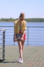 Yellow-sh-blazer-red-f-f-shorts-heather-gray-zara-blouse