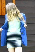 blue SH blazer - aquamarine Zara shirt - white New Yorker skirt