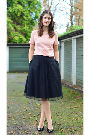 light pink sheer Fever London top - black lace Fever London skirt