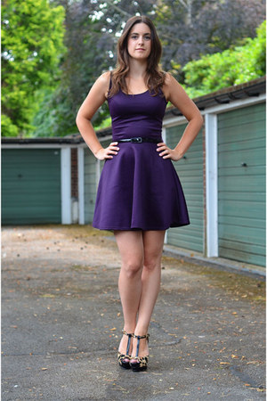 purple Boohoo dress - camel Jessica Simpson heels