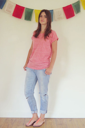light blue River Island jeans - pink Oasis t-shirt - orange sam edelman sandals