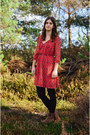 Brown-clarks-boots-red-orion-london-dress