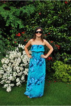 sky blue F&F dress - dark brown Chanel sunglasses