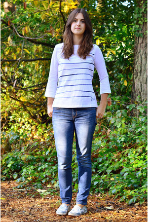 blue Gap jeans - white Joules top - light blue Vans sneakers
