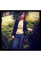 dark brown bayswater Mulberry bag - navy River Island jeans - black Zara blazer