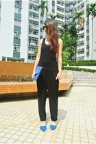 black jumpsuit Zara top