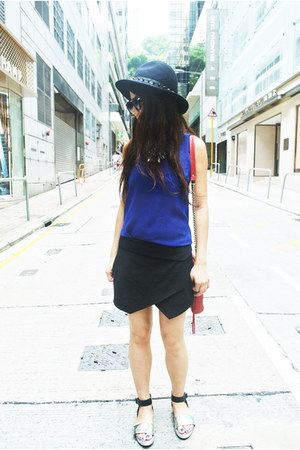 black wrap skort Zara shorts - black Zara hat - blue sheer Zara shirt