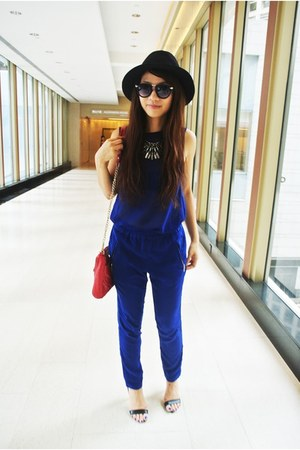 blue Zara pants - black Zara hat - ruby red Rebecca Minkoff bag