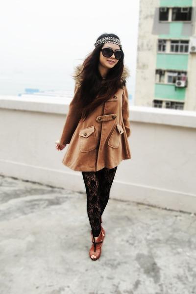 burnt orange vintage coat - black lace vintage leggings